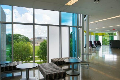 The strategic placement of windows and glass makes natural light the centerpiece of the Student Success Center's design.