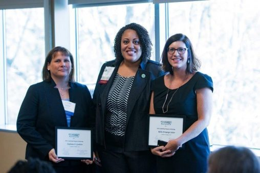 (From left) Stephanie Goodwin, Denise McCrory and Robin Selzer with Leadership Awards from the ACE Ohio Women's Network (Contributed photo)