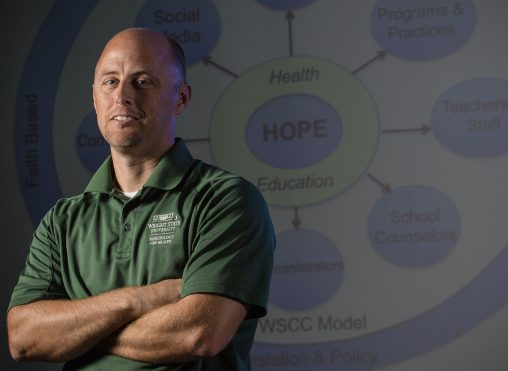 Kevin Lorson, professor and director of the Physical Education Licensure Program, is working on health education standards and drug and opioid abuse prevention education in Ohio public schools. (Photo by Erin Pence)