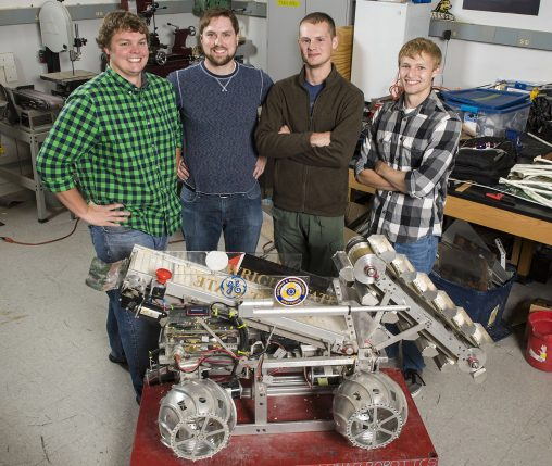 From left: Wright State Robotics Club members Mike Wagner, Tyler Doerman, Brian Shivers and Ryan Hendrickson (along with Logan Rickert, not pictured) will participate in the NASA Robotic Mining Competition at the Kennedy Space Center. (Photo by Chris Snyder)