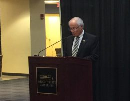 During an event in the Student Union, Wright State President David R. Hopkins explained why Wright State will become tobacco free on July 1, 2017.