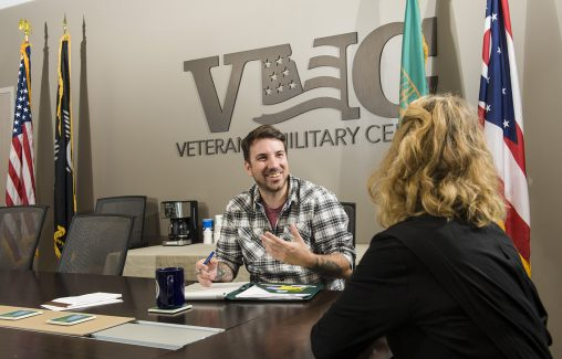 The Veteran and Military Center provide offers veteran and military students a space where they can relax and study together.