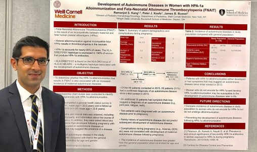 Research by Ramanjot Kang, a third-year medical student at the Boonshoft School of Medicine, is the first study to provide data about the frequency of autoimmune diseases following pregnancies affected by a Fetal-Neonatal Alloimmune Thrombocytopenia, a blood-related disease that affects newborns.