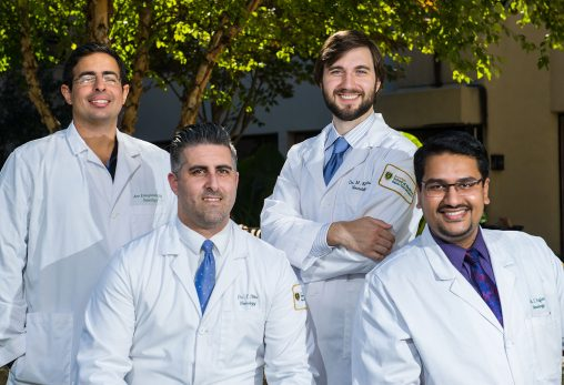 All four members of the first class of neurology residents at the Wright State University Boonshoft School of Medicine have been accepted into fellowship programs at top universities, including Columbia University, Johns Hopkins University, University of Miami and Vanderbilt University. The neurology residents are (from left): Amr Elmaghraby, M.D.; Thomas Pitts, M.D.; Michael Kentris, D.O.; and Suraj Rajan, M.D.