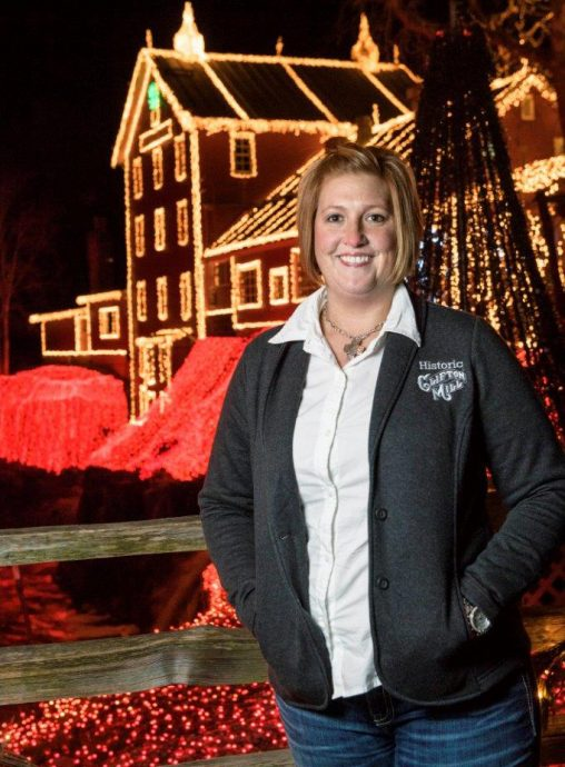 Jessica Noes, who graduated from Wright State in 2004, oversees all operations at the Clifton Mill, including the mill's annual Christmas display. (Photos by Erin Pence)
