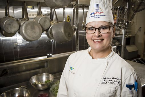 As an executive chef, Michelle Bridges is responsible for food production, the catering and cafeteria menus and managing the training of her kitchen staff.