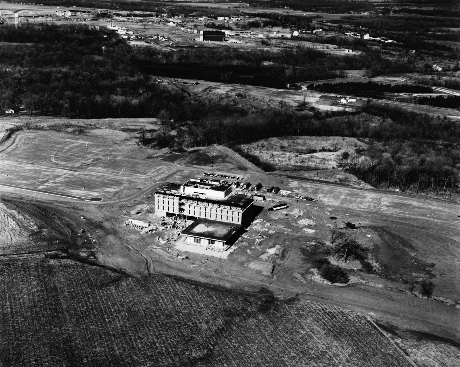 Allyn Hall, Wright State's first building, in the middle of a cornfield in 1968.