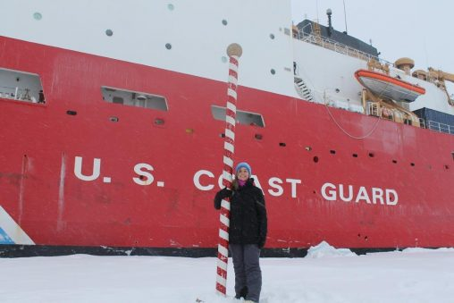 Katlin Bowman, who earned her bachelor's degree and Ph.D. in environmental sciences from Wright State, at the North Pole during a research trip measuring levels of toxic mercury in the Arctic Ocean. (Contributed photo)