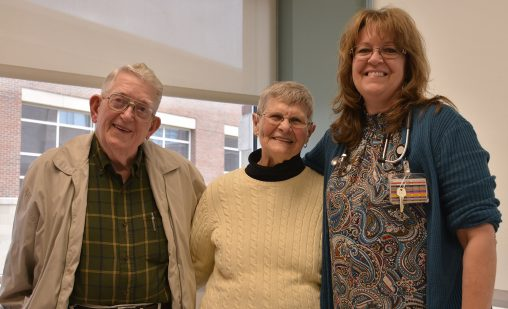 Karen Kirkham, right, of Wright State Physicians Geriatrics, with patients Nancy and Glenn Knauff.