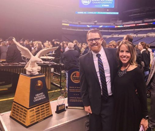 Wright State graduate Kyle Young and his wife, Kelly, at the Bands of America Grand National Championship in Indianapolis. (Contributed photos)
