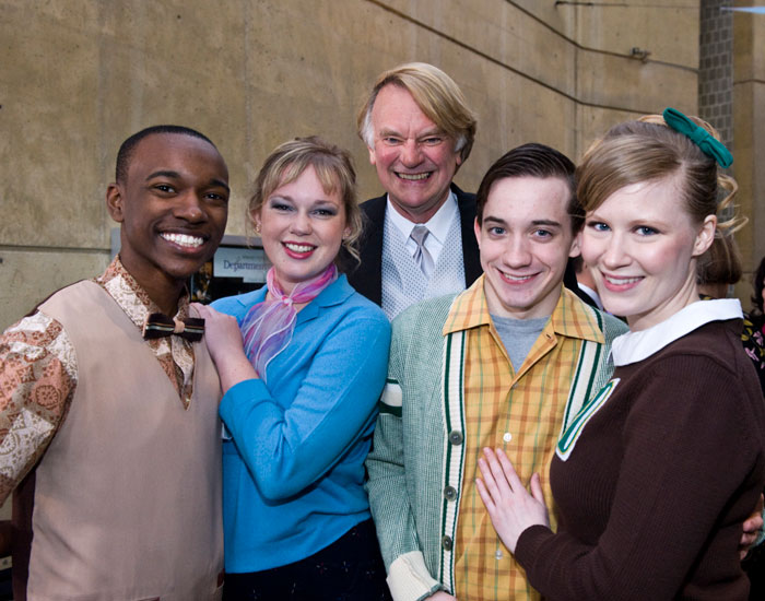 W. Stuart McDowell, chair of the Department of Theatre Arts, Dance and Motion Pictures, poses with theatre students.