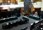 Photo of the Student Union Atrium during the Ohio Civil Rights Commision hearing.