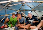 Photo of Sam Donahue, Jacob Best and Charlie Ross made a big, geodesic dome in the Architectural Engineering camp.