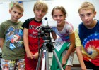 Photo of Lucas Flannagan, T.R. Glynn, Erica Whitcomb and Zach Adkins on assignment for the Discovery Video camp.