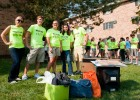 Photo of several student volunteers who helped move freshman into their new dorm rooms on move-in day.
