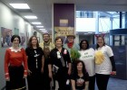 Photo of employees from the Wright State Office of Financial Aid dressed up for Halloween at the office.
