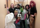 Photo of employees from the Admissions and Financial Aid offices dressed up for Halloween at the office.