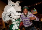 Photo of Rowdy Raider with a student