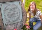 Photo of Jessica Nicole Wheeler at Paul Laurenece Dunbar's grave.