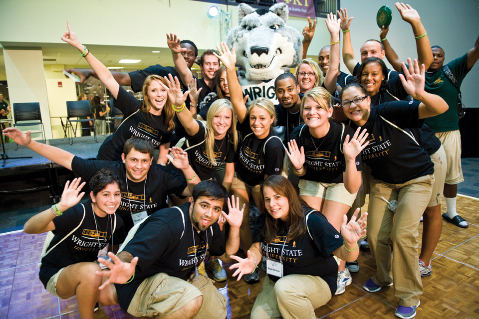 Photo of students with Rowdy Raider.