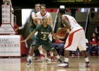Wright State Raiders guard Reggie Arceneaux (3) guards Miami (Oh) Redhawks guard Quinten Rollins (2) during the NCAA Basketball game between the Miami (Oh) Redhawks and the Wright State Raiders at Millett Hall in Oxford, Ohio.
