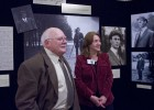 Tom D. Crouch, Ph.D., and Dawne Dewey, head of Wright State Special Collections and Archives, discuss Wilbur Wright at Aviation Trail's annual Celebration of Powered Flight dinner on Dec. 17, 2011.