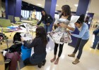 Photo of students creating Project Runway wear for Wright Stat's 2012 competition.