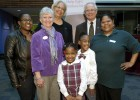 "Photo of: Front row, left to right: Dawn Kilby (WSU 2004); Jacalyn ""Jackie"" Allen, director, Dayton Division March of Dimes; Daisha Dansby, daughter of Dawn Kilby; DeMarrione ""Marri"" Dansby, daughter of Dawn Kilby and ambassador, 2012 Miami Valley March for Babies; and Anna Kilby, mother of Dawn Kilby, grandmother of Daisha and Marri and Hangar employee. Back row: Jacqueline McMillan, vice president for enrollment management; and President David R. Hopkins."