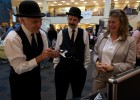 Photo of Amanda Wright Lane with Wright brothers reenactors.