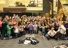 Photo of Wright State Greeks students that partcipated in the second-annual Pan Hellenic canned food sculpture contest.