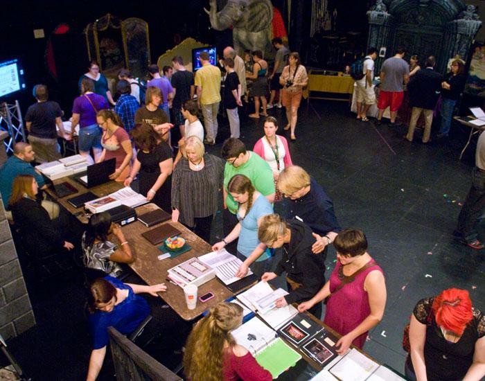 Overhead shot of the portfolio event