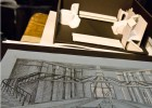 Photo of a set design sketch and model