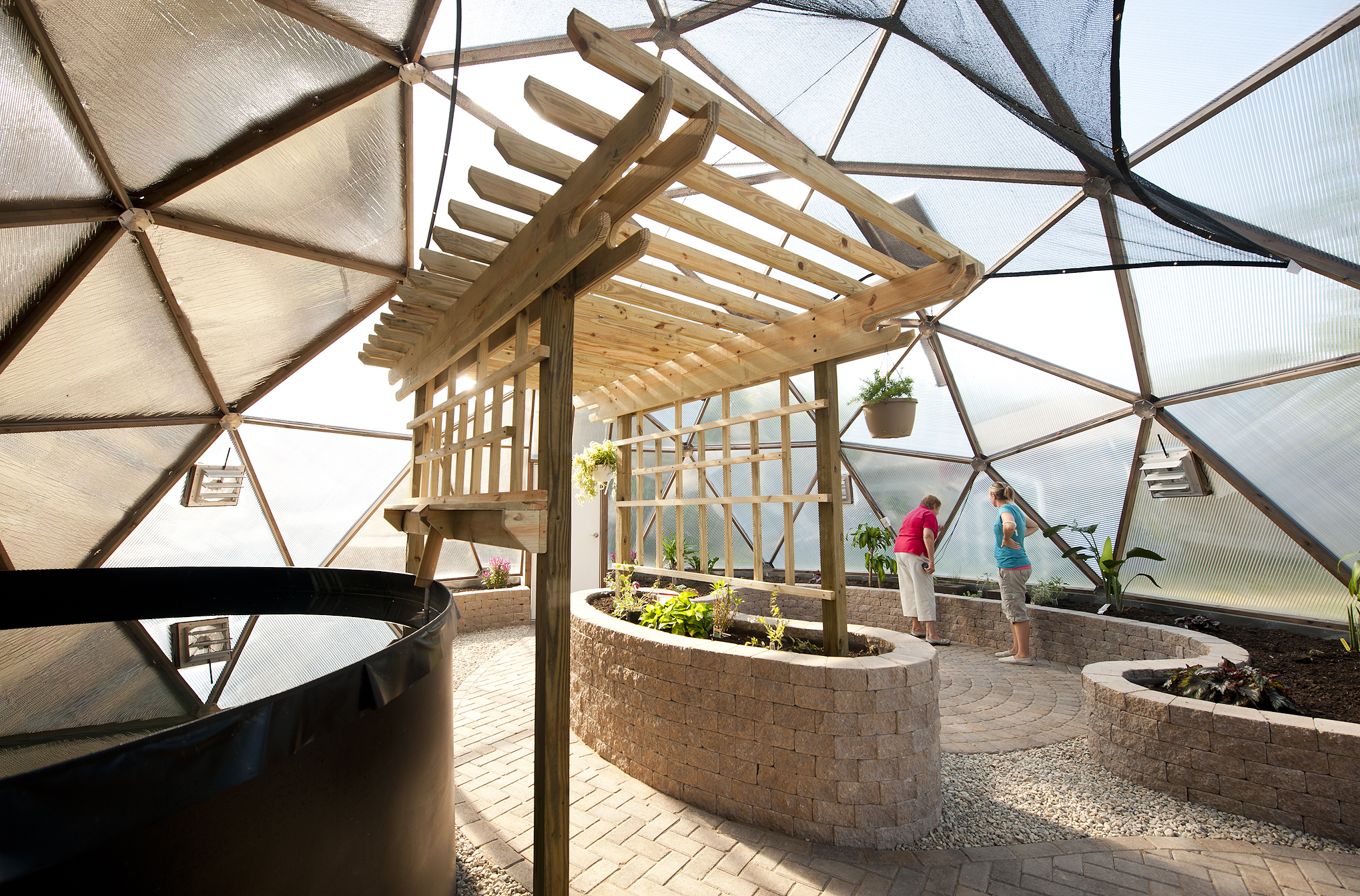 Photo of the inside of Mini University at Wright State University's new learning space–a geodesic greenhouse.