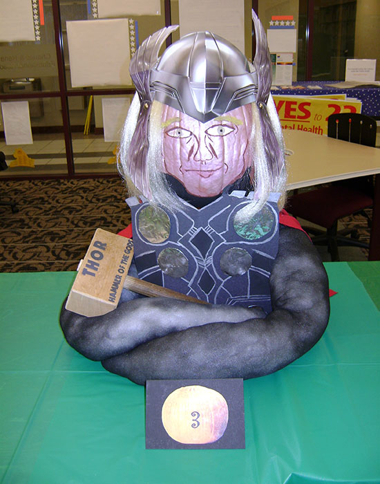 Photo of a pumpkin dressed as Thor