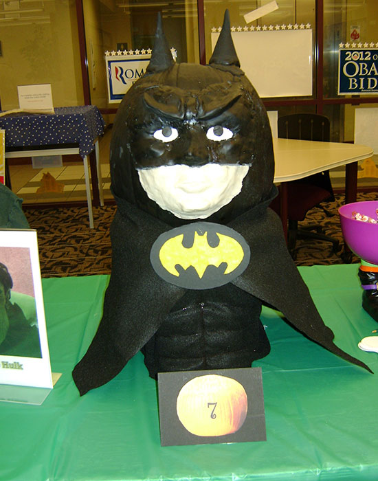 Photo of a pumpkin dressed as Batman