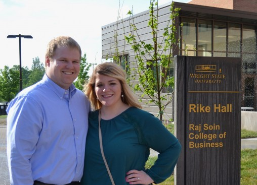 Alice Throckmorton and Luke Alan Keiser outside Rike Hall