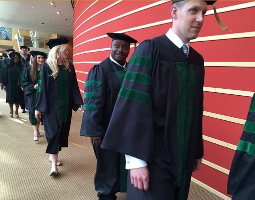 Boonshoft School of Medicine students walking during commencement