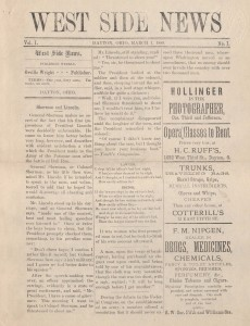 Wright brothers' West Side News from March 1, 1889