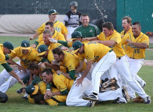 baseball team celebrating