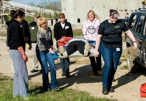 participants practiced carrying a survivor on a door