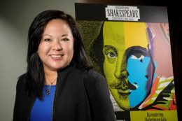 """Carol Mejia LaPerle, associate professor of early modern literature, is organizing the """"Encountering Shakespeare"""" conference at Wright State on Oct. 20-22. (Photo by Erin Pence)"""